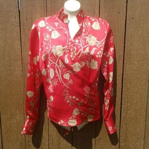 Lafayette 148 Red & Gold Floral Silk Wrap Blouse 4